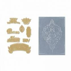 Sizzix Framelits Stanzschablone / Die Set 8PK w/Textured Impressions - Ornament Set