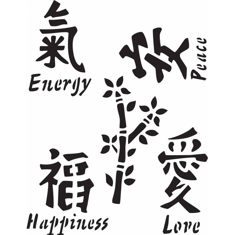 Delta Schablone Mania X1 Asian Symbols Aha Effect Love2create