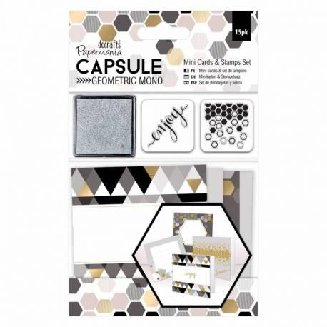 Mini Karten & Stempel Set (15Stk) - Capsule Collection - Geometric Mono