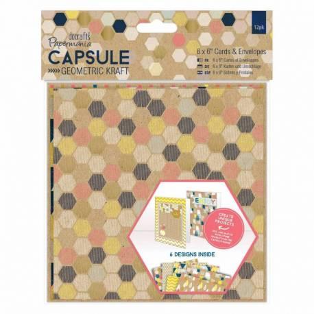 6 x 6 Karten & Umschläge (12Stk) - Capsule Geometric Kraft