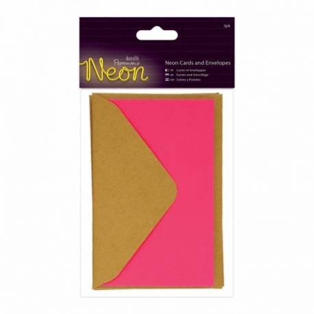 Karten und Biefumschläge (3Stk) - Neon - Pink