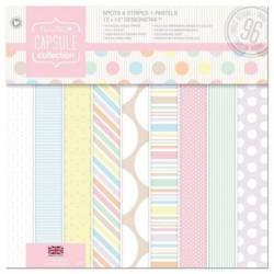 30,5 x 30,5cm Designstax Papierblock (48 Blatt) - Capsule - Spots & Stripes Pastels