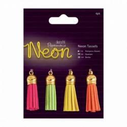 Quasten (4Stk) - Neon
