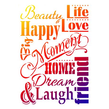 Universal-Schablone A3 Life, Love & Laugh