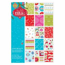A4 Papierblock Leinenstruktur Doppelseitig Bedruckt (32Bl) - Folk Christmas