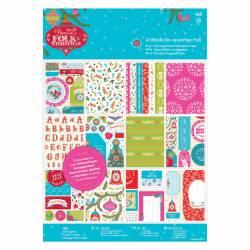 A4 Ultimativer Stanz- und Papierblock Leinenstruktur (48Bl) - Folk Christmas