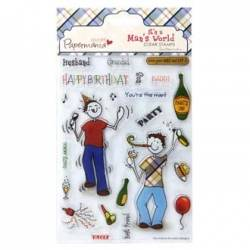 5x7 clear stamps / Silikonstempel - its a mans world (1pk) party animal
