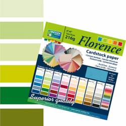"Florence cardstock 216g 6x6"" x24 multipack grün"