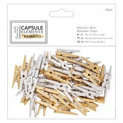 Metallic Mini-Holzklammern(50Stk) - Elements Metallic