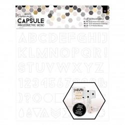 Papermania Capsule Geometric Mono - selbstklebende Schablone Alphabet