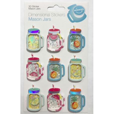 Mason Jars Dimensional Stickers