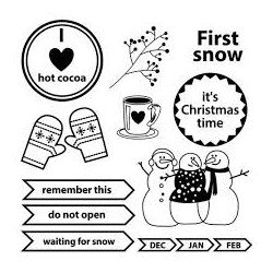 Set Of Clear Stamps 10,5x10,5 cm Happy Holiday First Snow (SCB4906006b)