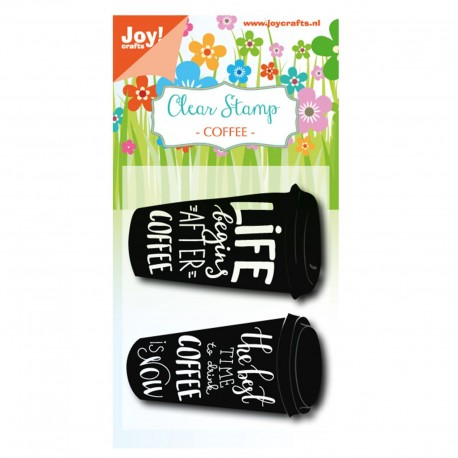 Joy!Crafts Silikonstempel / Clear Stamp - coffee cup text