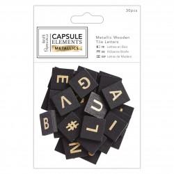 Metallic Buchstaben Holz (30Stk) - Capsule Collection - Elements Metallic