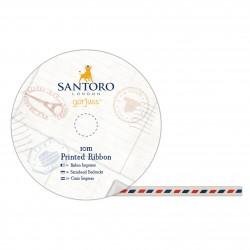 11 Satin Schleifenband Bedruckt - Santoro - Luftpost