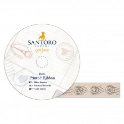 10 Satin Schleifenband Bedruckt - Santoro - Postalisch