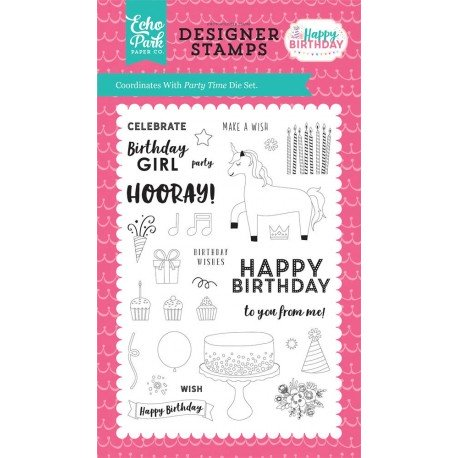 Happy Birthday Girl Party Time Clear Stamps
