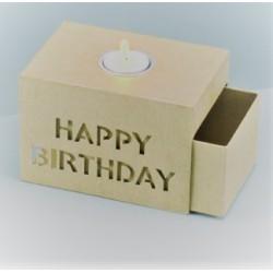 Schiebebox - Happy Birthday mit Alueinsatz für Teelicht