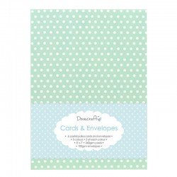 8 Pastel Polka 5x7 Cards & Envelopes (DCCE007)