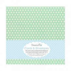 "Dovecraft 6x6"" Cards & Envelopes - Pastel Polka"